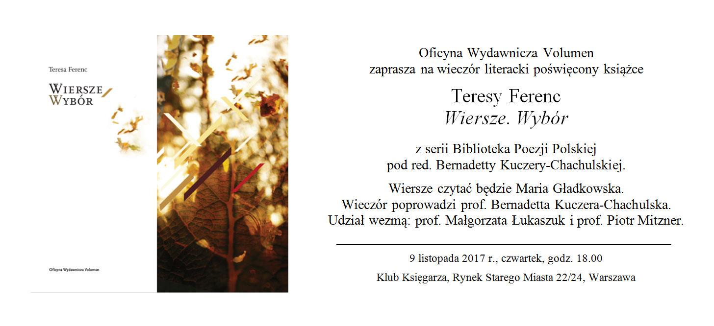 Wiersze Teresy Ferenc W Klubie Księgarza 9 Listopada Skp